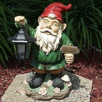 Sunnydaze Frankie JR the Solar LED Lantern Welcome Gnome 16 Inch Tall