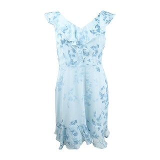 DKNY Women's Floral-Print Ruffle Dress (14, Blue Multi) - Blue Multi - 14