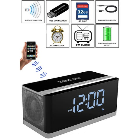 Boytone BT-86C Bluetooth 4.1 Portable Alarm Clock Radio Wireless Speaker, Digital FM Tuning Built Rechargeable Battery, Mic,