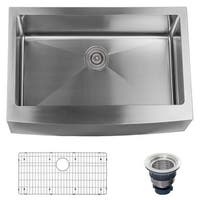 "Miseno MSS3020F Farmhouse 30"" Single Basin Stainless Steel Kitchen Sink with Apron Front - Drain Assembly and Fitted Basin Rack"