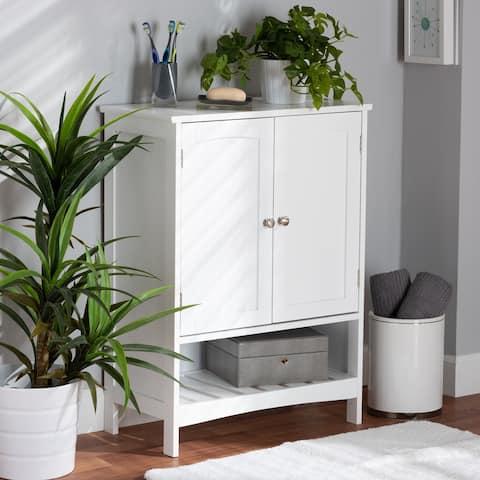 Jaela Modern White Finished Wood 2-Door Bathroom Storage Cabinet