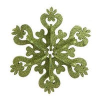 "9"" Christmas Brites Large Green Glitter Drenched Snowflake Ornament"