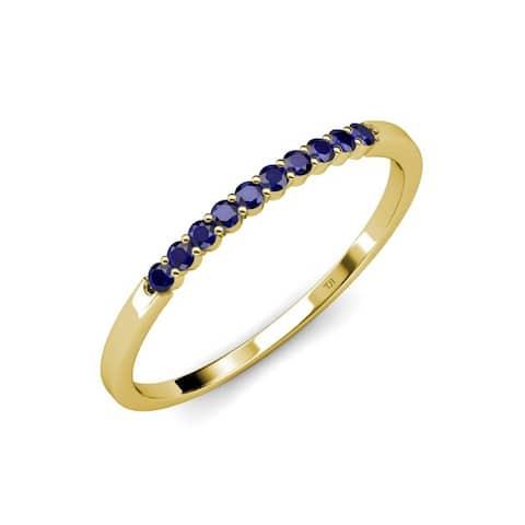 TriJewels Blue Sapphire 1/4 ctw 10 Stone Womens Wedding Band 14K Gold