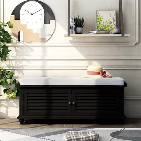 Merax Storage Bench with Removable Cushion, Louver Design Wooden Shoe Bench