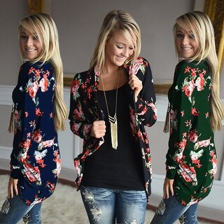 Floral Print Long Sleeve Open Cardigan