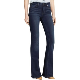 Paige Womens Bell Canyon Flare Jeans High Rise Dark Wash