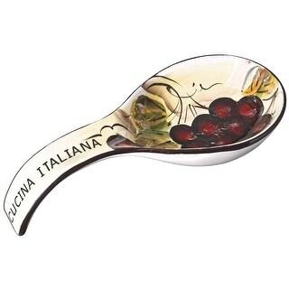 Cucina Italiana Ceramic Kitchen Stove, Counter Top Deep Spoon Rest, White - 9 x 4 x 3 inches
