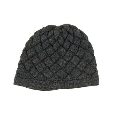 Bottega Veneta Men's Dark Gray Wool Knitted Beanie Woven 300547 1300 - Small