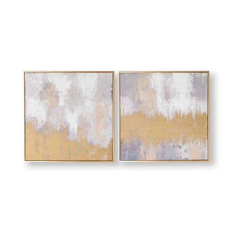 Graham and Brown 104017 Laguna Mist 2-Piece Framed Abstract Painting on St - Gold