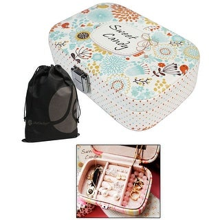 Patterned Travel Jewelry Box with Snap Closure, Ring Holder, Mirror