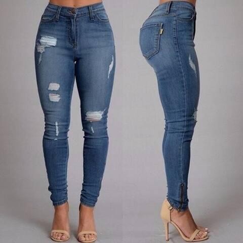 Women's Shredded Jeans