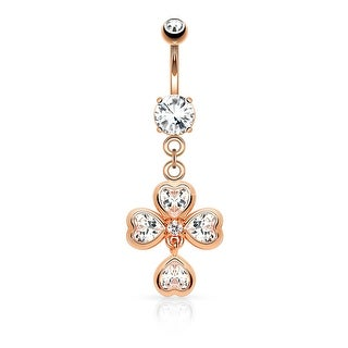 Heart CZ Shamrock Dangle Navel Ring (Sold Individually)