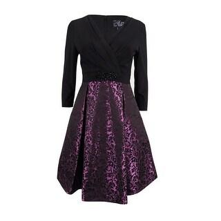 Alex Evenings Women's Petite Beaded Jersey Jacquard Dress - black/plum