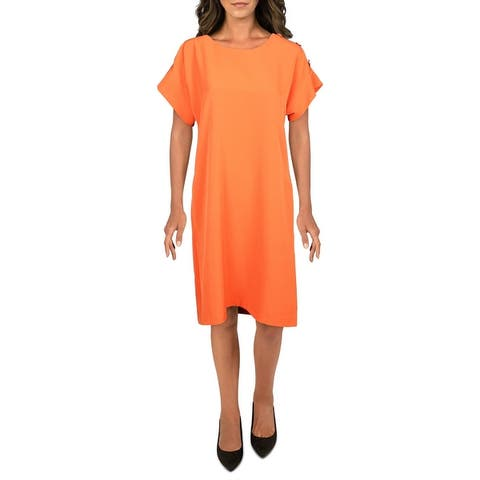 T Tahari Womens Shift Dress Button Detail Scoop Neck - Orange Burst