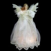 "14"" Lighted Elegant Ivory Angel Christmas Tree Topper - Clear Lights - White"