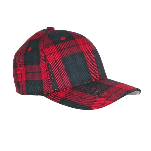Flexfit Men's Cotton Tartan Plaid Stretch Fit Baseball Hat