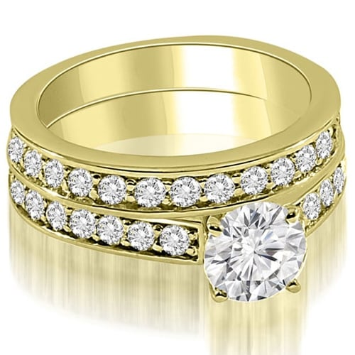 1.90 cttw. 14K Yellow Gold Round Cut Diamond Bridal Set