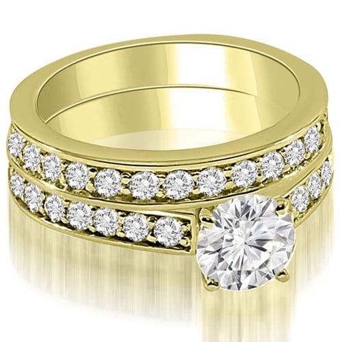 2.40 cttw. 14K Yellow Gold Round Cut Diamond Bridal Set