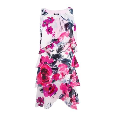 SL Fashions Women's Chiffon Floral-Print Tiered Dress - White/Red