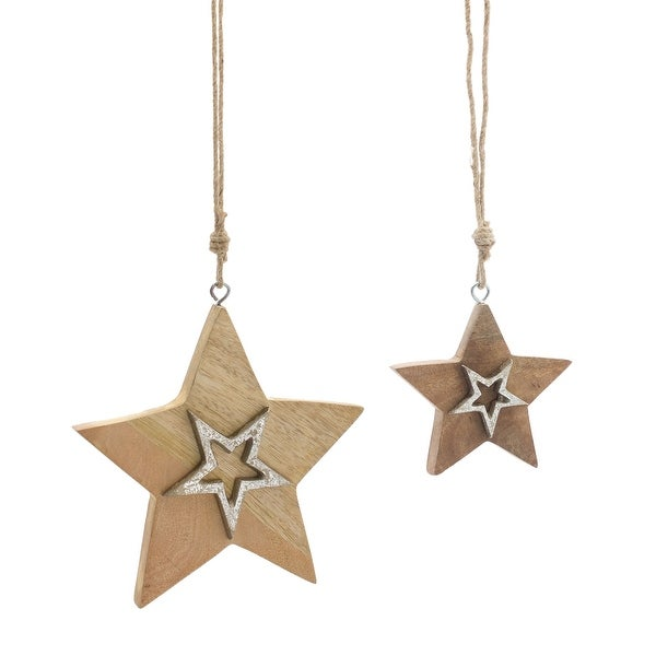 """Set of 12 Beige and Silver Star Ornament 8"""". Opens flyout."""