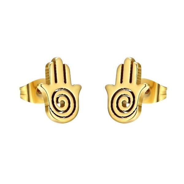 Stainless Steel Hamsa Hand Earrings Studs 14k Gold Tone 12mm