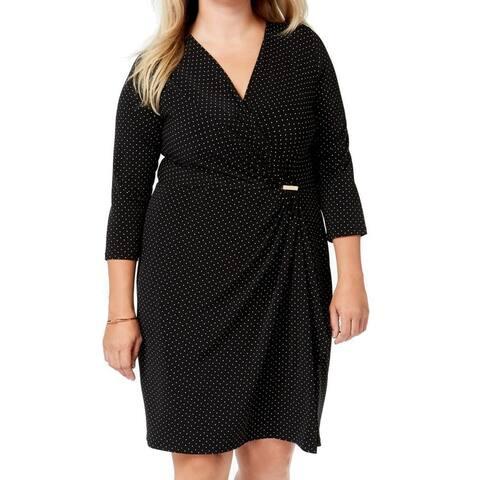 Charter Club Women's Dress Black Size 4X Plus Polkadot Faux-Wrap