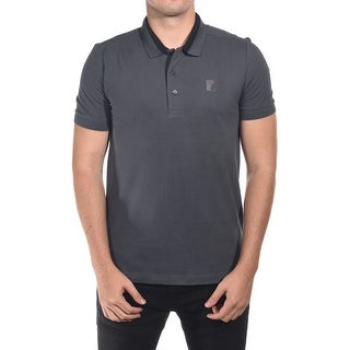 Versace Men's Cotton Medusa Logo Polo Shirt Dark Grey