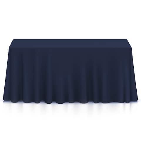 "90 x 132"" Premium Rectangular Polyester Tablecloth - Navy Blue"
