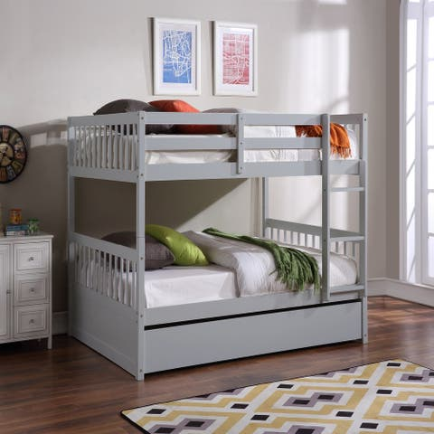 Home Furniture Full over Full Bunk Bed with Trundle, Detachable,Grey