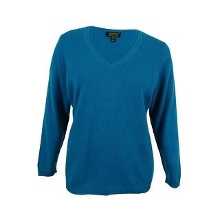 Charter Club Women's Plus Size Cashmere V-Neck Sweater