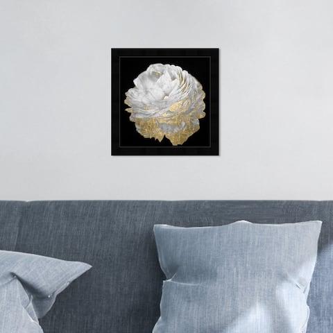 Oliver Gal 'Gold and Light Floral' Floral and Botanical Framed Wall Art Prints Florals - Black, Gold