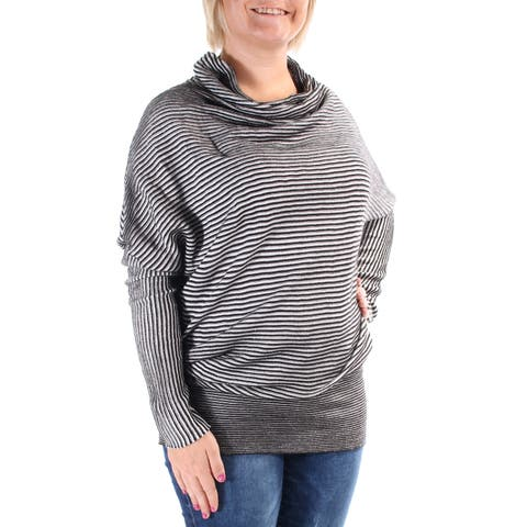 KIIND OF Womens Gray Textured Striped Long Sleeve Turtle Neck Top Size: M