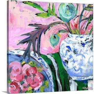 """""""Blue and White with Pink"""" Canvas Wall Art"""
