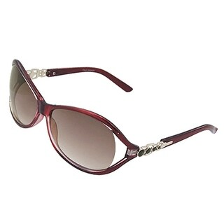 Eyes Protector Clear Dark Red Arms Sunglasses for Lady