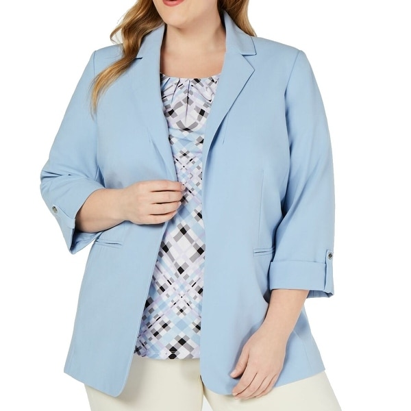 Calvin Klein Womens Jacket Blue Size 16W Plus Open Front Notched Collar. Opens flyout.