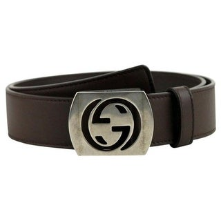 Gucci Men's Cocoa Brown Leather Interlocking G Leather Belt 387031