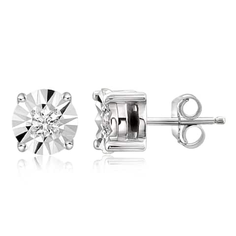 JewelonFire Sterling Silver 1/10 Ctw Genuine White Diamond Stud Earrings