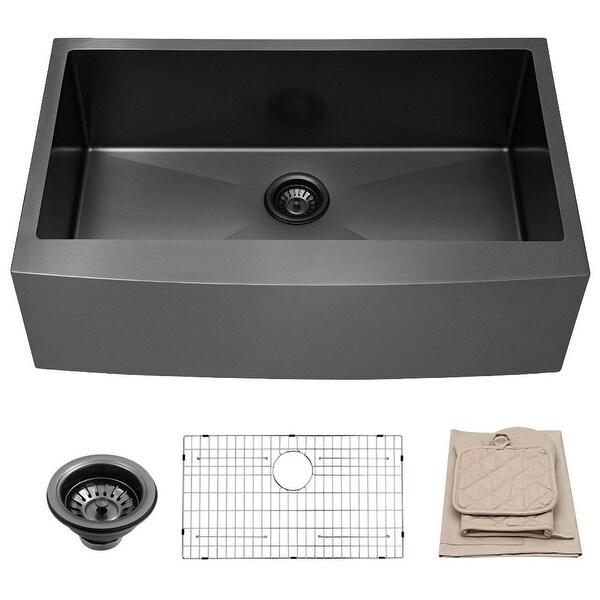 30 Inch Matte Black Farmhouse Kitchen Sink Apron Front Sink Stainless Steel