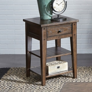 Link to Lake House Rustic Brown Oak Chair Side Table Similar Items in Living Room Furniture