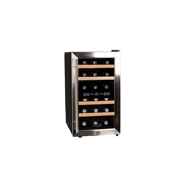 """Koldfront TWR187E 14"""" Wide 18 Bottle Wine Cooler with Dual Cooling Zones - Stainless Steel - N/A"""