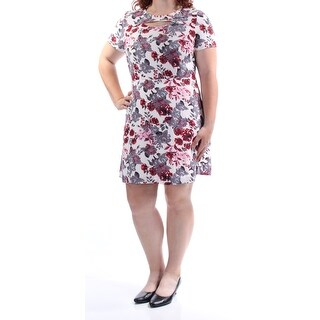 KENSIE Womens Ivory Cut Out Floral Short Sleeve Jewel Neck Above The Knee A-Line Dress  Size: XL