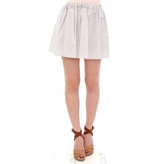 Andrea Incontri White Cotton Checkered Stretch Skirt