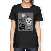 Skeleton Black Cat Womens Black Cotton Short Sleeve Graphic T-Shirt