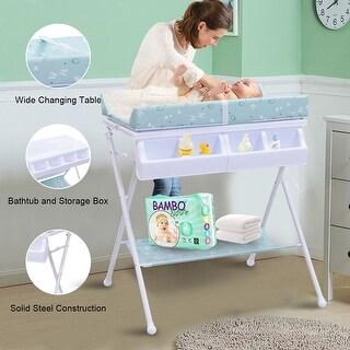 Costway Infant Baby Bath Changing Table Diaper Station Nursery Organizer Storage w Tube - Blue