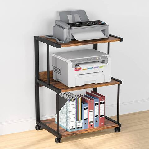 3-Shelf Printer Stand with Storage, Rolling Printer Table Machine Cart with Wheels, Mobile Desk Organizer Shelves for Office