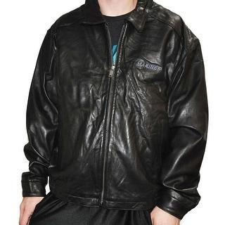 Weatherproof Mens Black Leather Marines Stretch Bottom Large Jacket