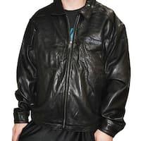 Weatherproof Mens Black Leather Marines Stretch Bottom Medium Jacket