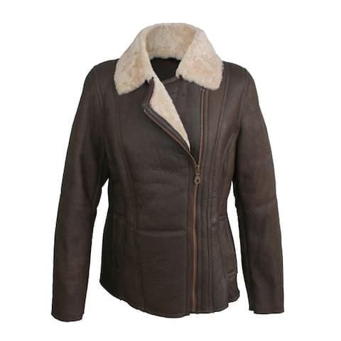 Eastern Counties Leather Womens/Ladies Celene Aviator Sheepskin Coat - Chocolate Forest