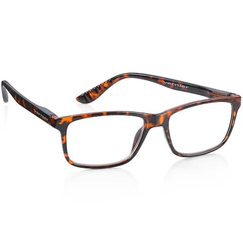 2 Pairs Vernier Rectangle Reading Glasses Tortoise and Black
