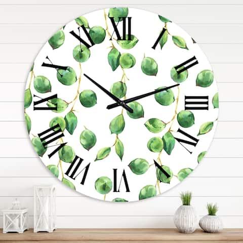 Designart 'Tropical Green Leaves Patern' Tropical wall clock